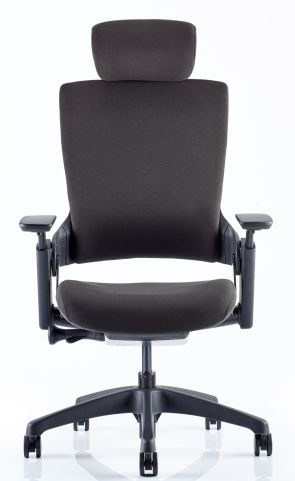 LOtius Chair With Headrest In Black Fabric Front View