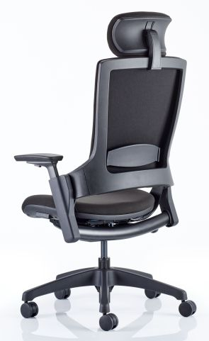 Lotus Chair Black Fabric Rear Angle
