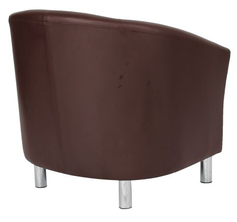 Hover To Zoom; Zoron Brown Leather Tub Chair With Chrome Feet Rear Angle  View