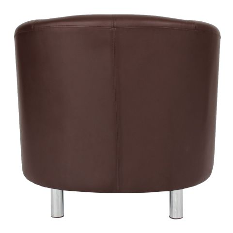 Zoron Brown Leather Tub Chair With Chrome Feet Rear View