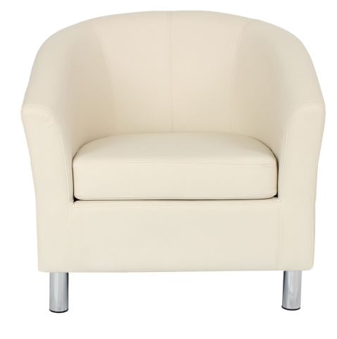 Zoron Cream Leather Tub Chair With Chrome Feet Front View