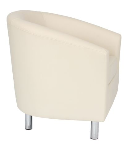 Zoron Cream Leather Tub Chair With Chrome Feet Side View