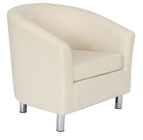 Zoron Cream Leather Tub Chairs With Chrome Feet Front Angle