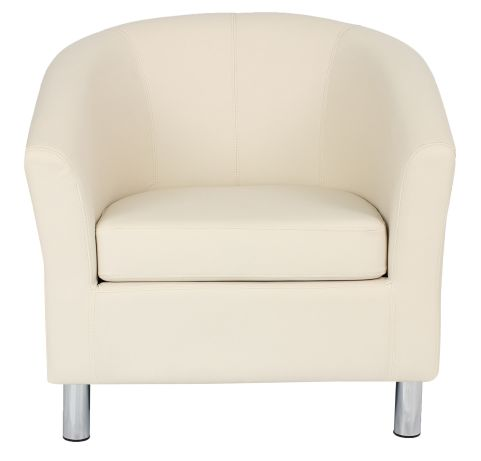 Zoron Cream Leather Tub Chairs With Chrome Feet Front View