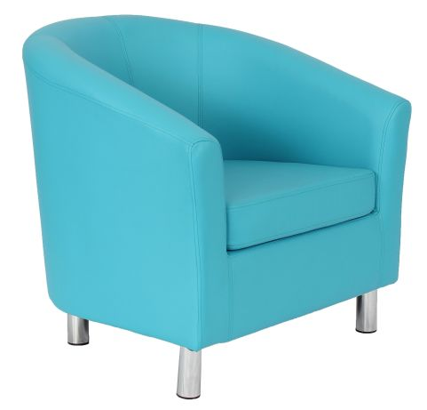 Zoron Faux Leather Tub Chairs With Chrome Feet In Light Blue Front Angle
