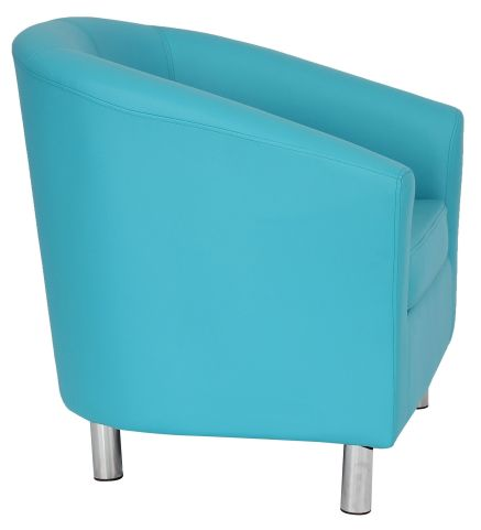 Zoron Light Blue Tub Chairs With Chrome Feet Side View