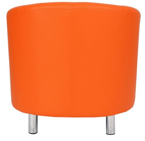 Zoron Orange Leather Tub Chair With Chrome Feet Rear View
