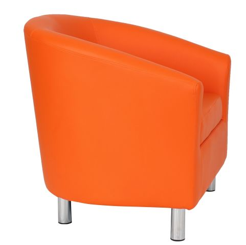 Zoron Orange Leather Tub Chairs With Chrome Feet Side View