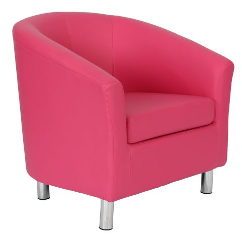 Zoron Pink Leather Tub Chair With Chrome Feet Front Angle