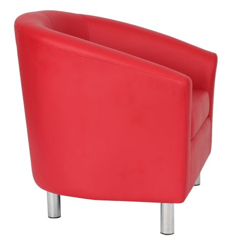 Zoron Red Leather Tub Chair With Chrome Feet Side View