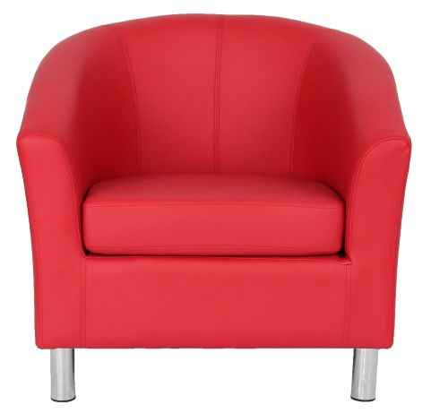 Leather Tub Chairs - Zoron Chrome - Office Reality