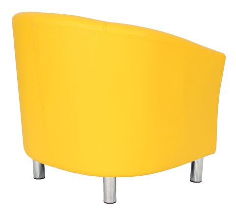 Zoron Tub Chair In Yellow With Chrome Feet Rear Angle View