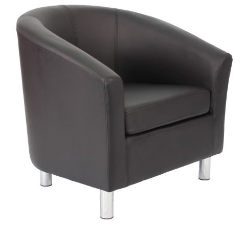 Zoron V2 Tub Chair In Black Leather With Chrome Feet Angle View