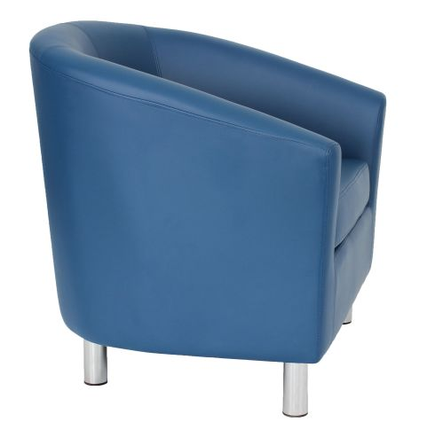 Navy Blue Zoron Tub Chairs With Chrome Feet Side View