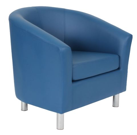 Zoron Tub Chairs In Navy Blue Leather Angle View