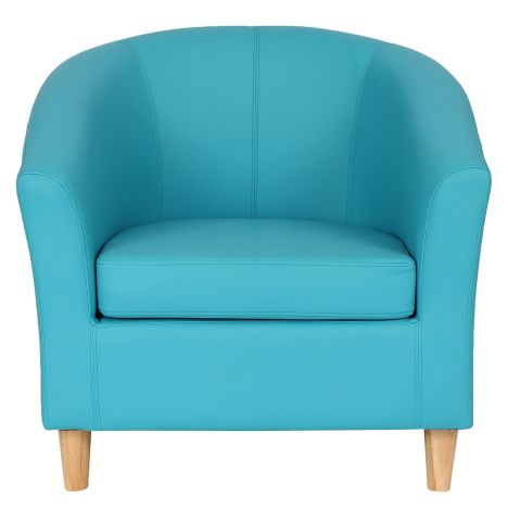Zoron Light Blue Leather Tub Chair With Wooden Feet Front View