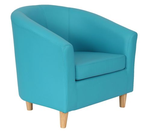 Zoron Light Blue Leather Tyub Chair With Wooden Feet Front Angle View