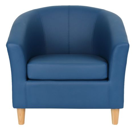 Zoron Navy Blue Tub Chairs With Wooden Feet Front View