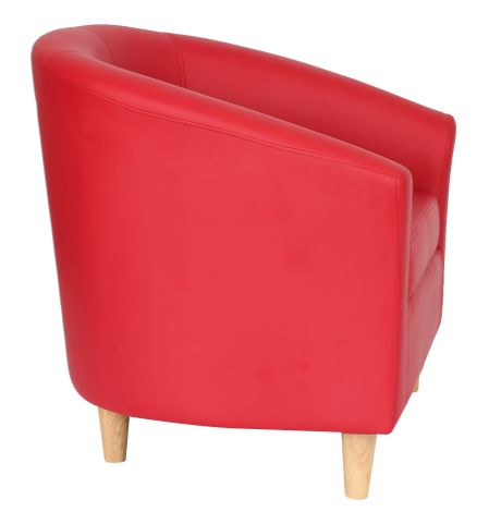 Zoron Red Tub Chair With Wooden Feet Side View