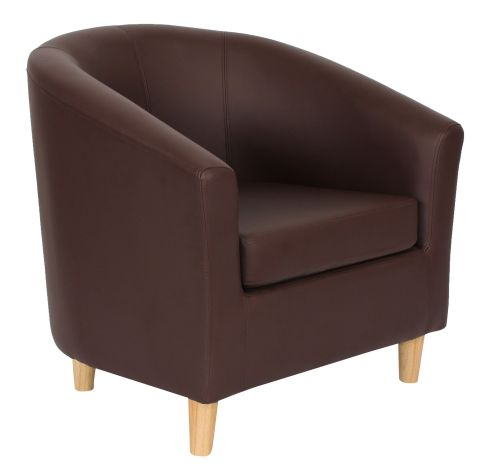 Zoron Tub Chair In Brown Front Angle View