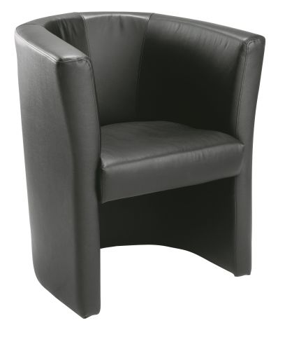 Niko Black Leather Tub Chair Front Angle View