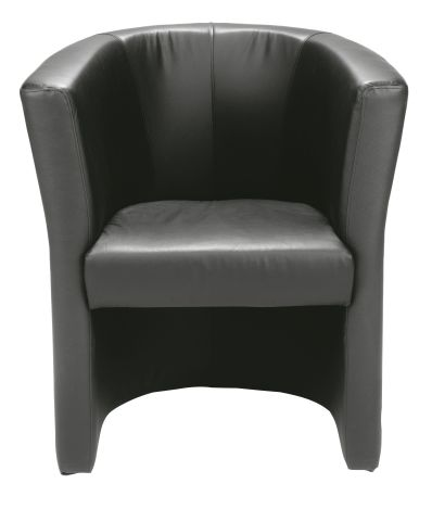 Niko Black Leather Tub Chair Front View