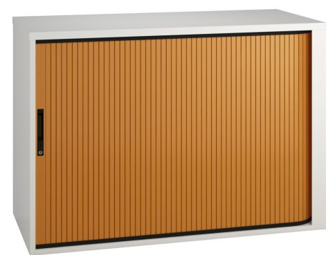 Scope Tambour Cabinet With An Orange Shutter
