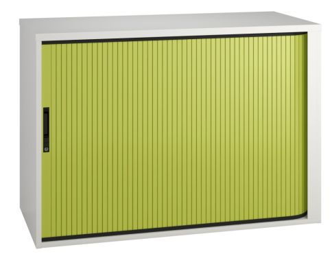 Scope Low Tambour Cabinet With A Lime Green Shutter