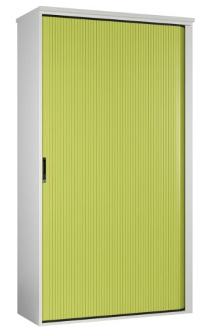 Scope Tall Tambour Cabinet With A Lime Green Shutter