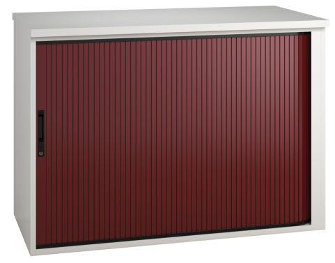 Shift Low Tambour Cabinet With A Burgundy Shutter