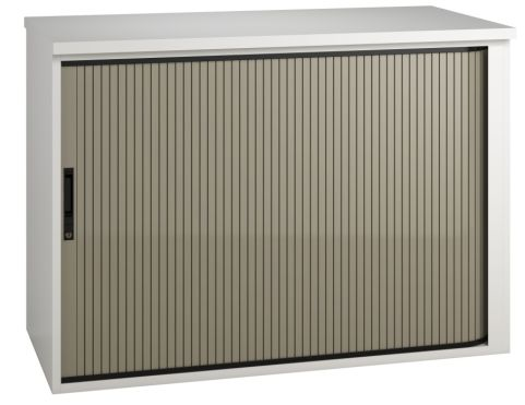 Shift Low Tambour Cabinet With A Stone Grey Shutter