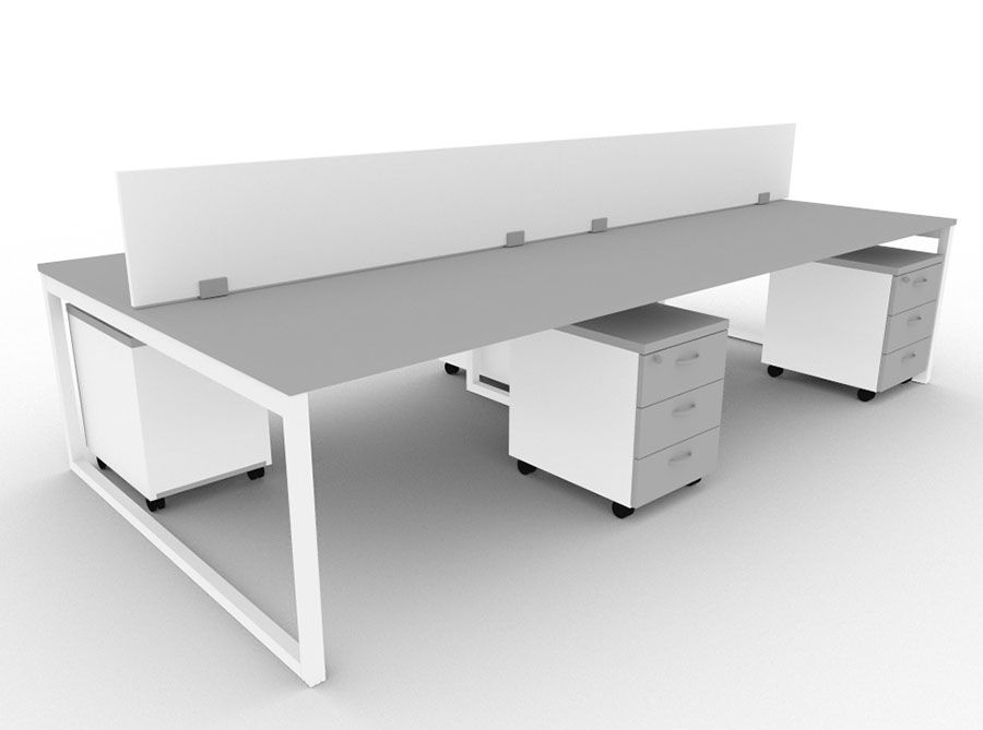 Pleasing Minim 4 Person Bench Desk With Screen Divider And Pedestal Cjindustries Chair Design For Home Cjindustriesco
