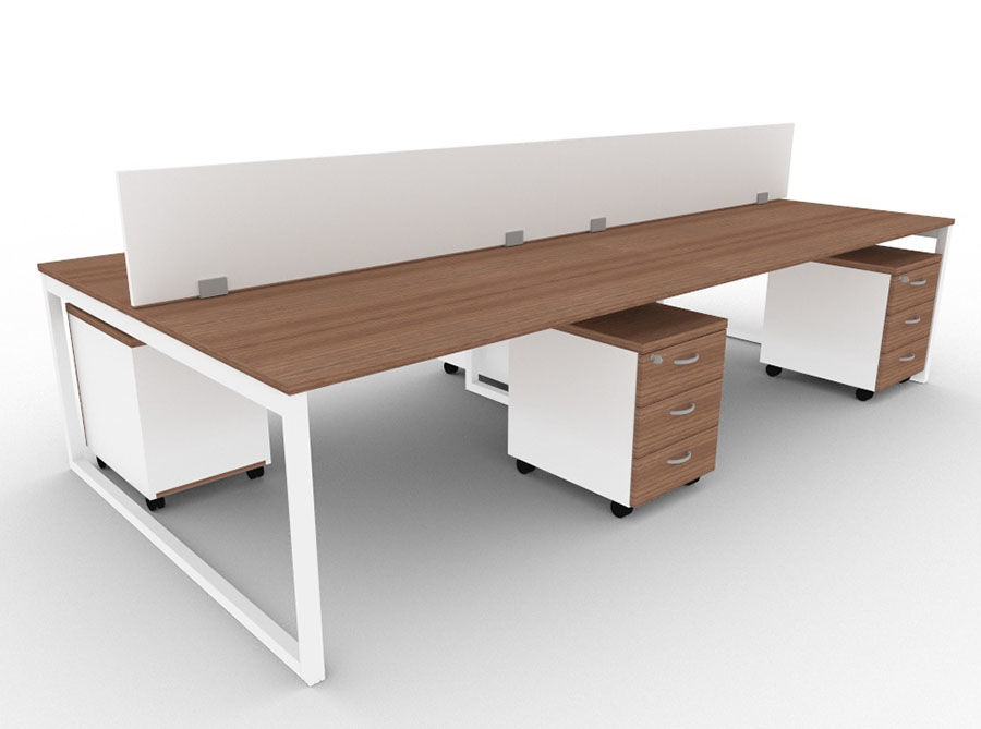 Minim 4 Person Bench With Pedestals And Screens   Walnut ...