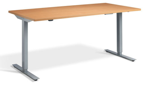 Rapid Height Adjustable Desk - Beech And Silver