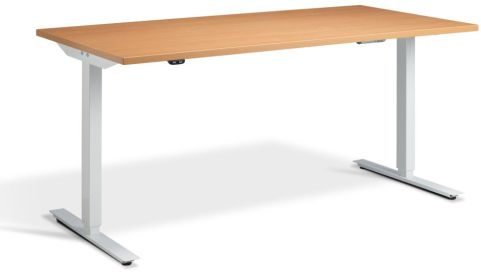 Rapid Height Adjustable Desk - Beech And White