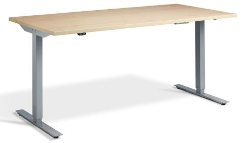 Rapid Height Adjustable Desk - Maple And Silver
