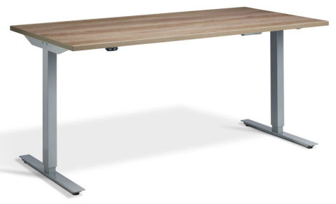 Rapid Height Adjustable Desk - Nebraska Oak And Silver