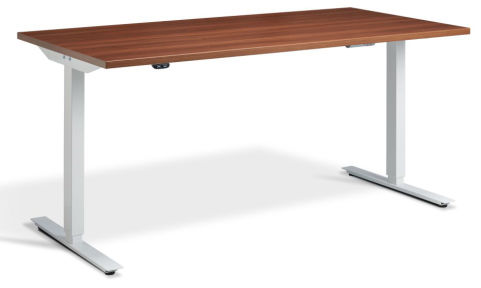 Rapid Height Adjustable Desk - Walnut And White