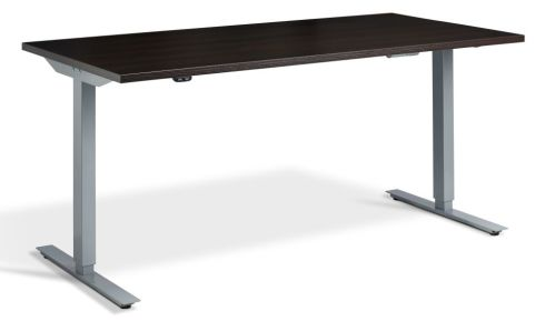 Rapid Height Adjustable Desk - Wenge And Silver