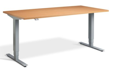 Rapid Plus Height Adjustable Desk - Beech And Silver