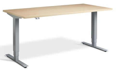 Rapid Plus Height Adjustable Desk - Maple And Silver