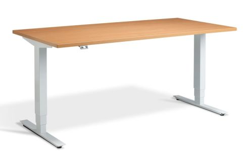Rapid Plus Height Adjustable Desk - Beech And White