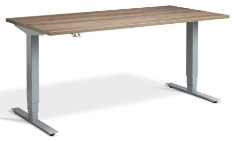 Rapid Plus Height Adjustable Desk - Nebraska Oak And Silver