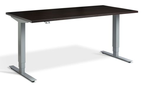 Rapid Plus Height Adjustable Desk - Wenge And Silver
