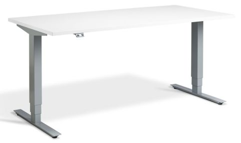Rapid Plus Height Adjustable Desk - White And Silver