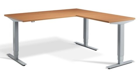 Rapid Height Adjustable Corner Desk - Beech And Silver