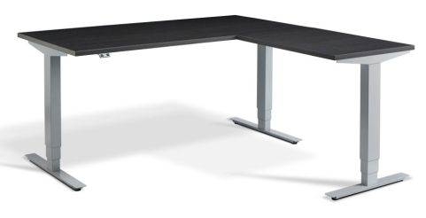 Rapid Height Adjustable Corner Desk - Carbon Marine And Silver