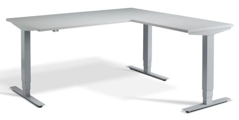 Rapid Height Adjustable Corner Desk - Grey And Silver