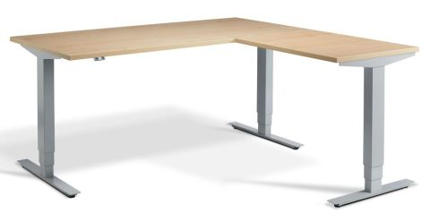 Rapid Height Adjustable Corner Desk - Maple And Silver