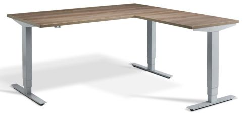 Rapid Height Adjustable Corner Desk - Nebraska Oak And Silver